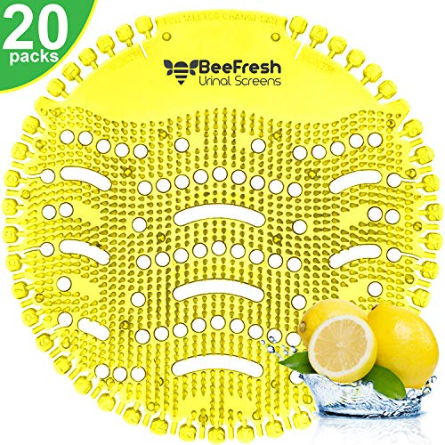 Urinal Screens Deodorizer (20 Pack), Urinal Cake, Anti-Splash & Odor Freshener, Scent Lasts for Up to 5000 Flushes –Ideal for Bathrooms, Restrooms, Office, Restaurants, Schools (Yellow Lemon)