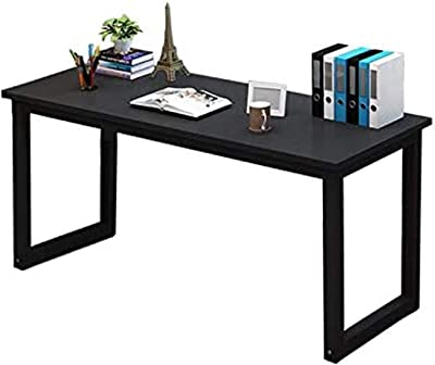 """Large Computer Desk 47"""", Simple Office Desk w/Thick Metal Legs, PC Laptop Sturdy Table Black, Workstation Quick Setting, Scratch-Resistance w/Adjustable Food Pads."""