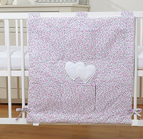 Organiseur pour lit de bébé - Coeur liberty rose et vert - Fabrication européenne
