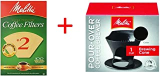 Bundle - Melitta Ready Set Joe Single Cup Pour Over Coffee Brewer Maker, Black + #2 Natural Brown Cone Coffee Filters 100-Count