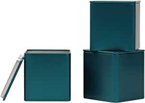 Tianhui Square Tin Can Empty Cube Steel Box Storage Container kit 65mm Series for Treats, Gifts, Favors, Loose Tea, Coffee and Crafts, Emerald Green, 3S