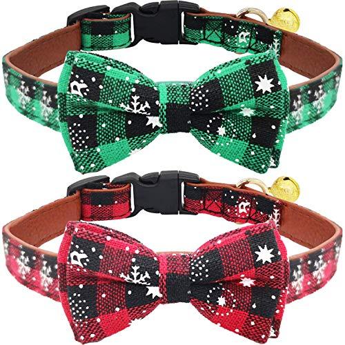 KUDES Hundehalsbänder mit Fliege und Glöckchen für Katzen und kleine/mittelgroße und große Haustiere, Rot und Grün, 2 Stück