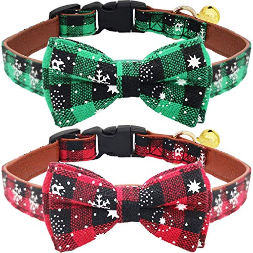 KUDES 2 Pack/Set Christmas Snowflake Dog Collars Breakaway with Bow Tie and Bells for Cat and Small/Medium/Large Pets, Red & Green