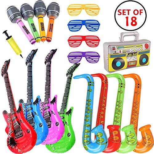 MIMIEYES Opblaasbare Rockster Speelgoedset Opblaasboten Saxofoon Gitaar Microfoon Opblaasbare instrumenten Feestartikelen met ballonpomp voor feestdecoratie Prop (18 stuks willekeurige kleur)