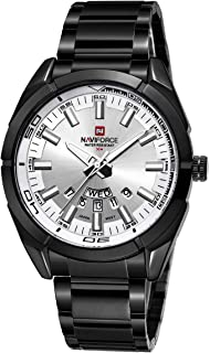 Naviforce Men's White Dial Stainless Steel Analogue Classic Watch - NF9038-BW
