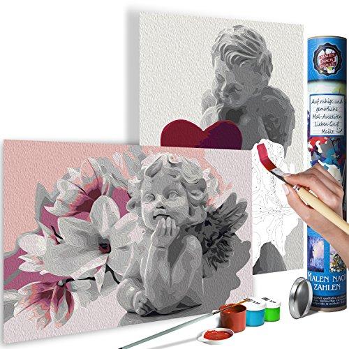 murando Malen nach Zahlen Engel 100x100 cm 2 Motiven Kit Malset Für Erwachsene und Kinder ab 12 Design Geschenk-Tube DIY Gemälde Handgemalt n-A-0584-ab-r
