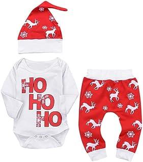 Pantalons Bonnet ccaat Ensemble Bebe Fille Noel Enfant Vetement Bebe Fille Hiver Combinaison Pyjama Fille Mode Body Tops /à Manche Longue Bebe Garcon Barboteuse