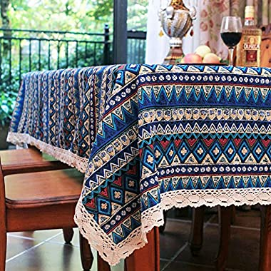 Elome Vintage Square Cotton Linen Lace Bohemian Style Geometric Design Tablecloth, Washable Tablecloth Dinner Picnic Table Cloth Home Decorative Cover Assorted Size (55 Inch x 87 Inch)