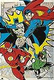 Dc Comics - 4 Superhelden - Cartoon Comic - Poster Druck
