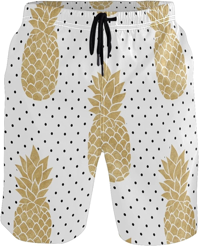 Pineapple Swim Trunks Men Funny, Fun Swim Trunks Guys Board Shorts,Gold Pineapple Polka Dot White AT540