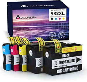 ALLWORK Compatible 932XL 933 Ink Cartridge Replacement for HP 932 XL 933 XL Combo Pack for HP Officejet 7110 6700 6100 6600 7510 7612 7610 Inkjet Printer ( 5 Pack - Black Cyan Magenta Yellow)