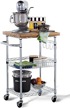 TRINITY EcoStorage Bamboo Kitchen Cart, Chrome