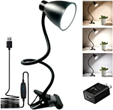 BOHON Clamp Lamp Reading Light 3 Color Modes 10 Brightness Dimmer Bedside Lamp 10W 38 LED Desk Lamp with Auto Off Timer 360° Flexible Gooseneck Clip on Light for Bed, AC Adapter and USB Cord Include