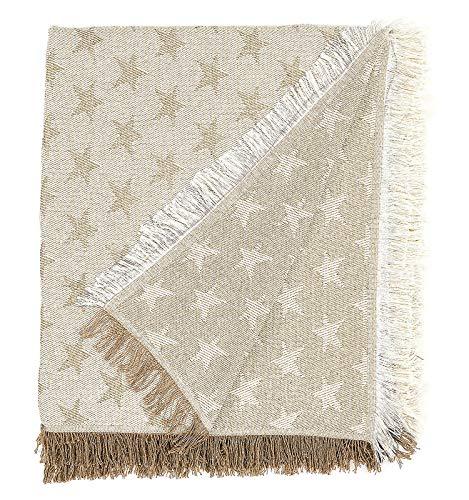 Martina home foulard multiusos- Plaid modelo estrella,tela,180x260 cm, color crudo beige