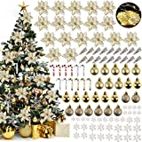 ZOYLINK Decoraciones para árboles de Navidad Poinsettias (18) + Bolas de Navidad (24) + Copo de Nieve (36) + Bastones de Caramelo (12) + Clip (18) Decoración para árbol