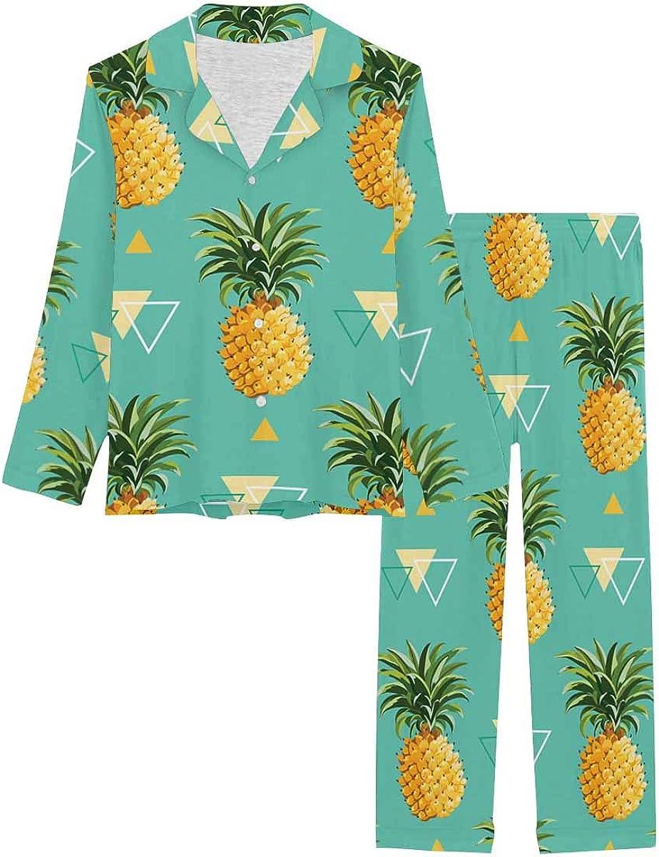 InterestPrint Women's Nightwear Notch Collar Loungewear with Long Pants Geometric Pineapple Background