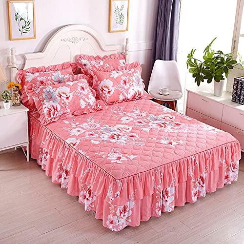 CYYyang Protector de colchón, algodón, poliéster, Hoja de Cama de Encaje de Falda de Cama gruesa-23_150 * 200cm