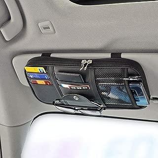 Da by Leather Car Sun Visor Organizer, Auto Interior Accessories Pocket Organizer - Car Truck Storage Pouch Holder, with Multi-Pocket Net Zipper(Black)
