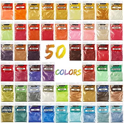 Polvere di brillantini: polvere glimmer per sapone in resina epossidica, per lucidalabbra, pigmento, per nail art, candele, Slime Dye, 50 colori