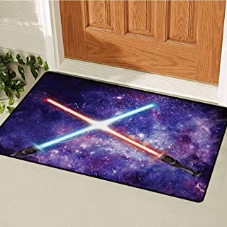 Galaxy Inlet Outdoor Door mat Illustration in Starry Sky Fantastic Outer Space Themed Illustration Catch dust Snow and mud W15.7 x L23.6 Inch Purple Blue and Black