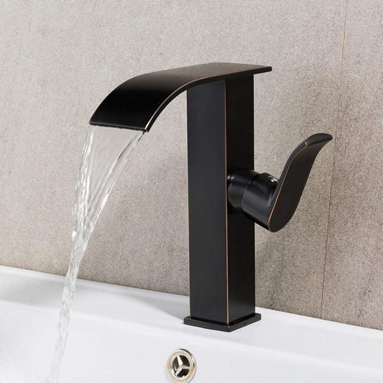 Hiwenr Messing Einzigen Handgriff Schwarz Becken Wasserhahn Deck Montiert Countertop Waschbecken Waschtischmischer Heies Und Kaltes Wasser Hahn