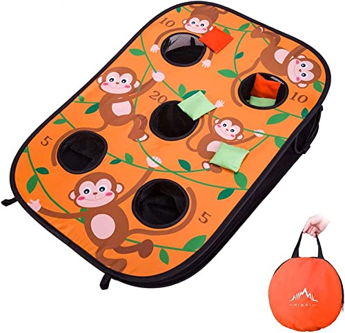 Himal Collapsible Portable 5 Holes Cornhole Game Cornhole Set Bounce Bean Bag Toss Game with 10 Bean Bags,Tic Tac Toe...