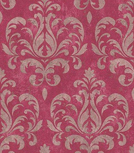 Rasch Vlies Tapete - Größe: 0,53 x 10,05 m - Farbe: silber/metallic, beerentöne - Stil: Muster &...