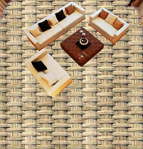Papel pintado de suelo 3d de estilo europeo personalizado para sala de estar, dormitorio, baño, papel tapiz mural de tejido de paja, suelo 3d-150 * 105cm