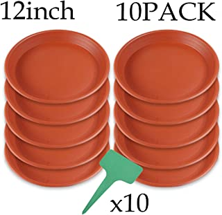 AROMA TREES 10 Pack(12 inch) Brown Plant Saucers Flower Pot Tray Excellent for Indoor & Outdoor Plants with 10 Plant Tags