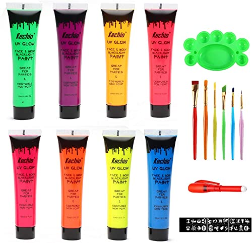 Halloween UV Glow Blacklight Face and Body Paint -8 Color 1OZ - Day or Night Stage Clubbing or Costume Makeup
