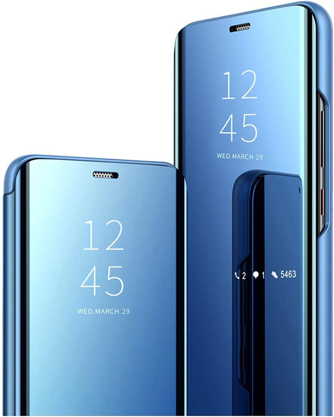 GOGME Funda para Samsung Galaxy A22 5G, Mirror Funda Inteligente, PU/PC Flip Cover Case Espejo Enchapado Window View Protectora Carcasa con Soporte Plegable. Azul