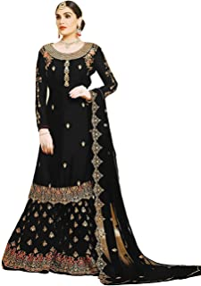 KHUSHI FEB women's gerogette embroidered Sharara Plazzo Salwar Suit (semi-stitched material)