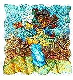 prettystern 90 cm Pintura Impresión pañuelo Chal de seda para el cuello Van Gogh Flores en florero azul P706