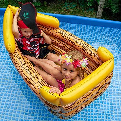 Verano Nuevo Barco Pirata Inflable Niños Flotando Fila Cama Flotante Juguetes Inflables, Bandeja De Comida para Adultos, Juego De Botes Inflables De Agua,Juguetes De Agua -1.2m A