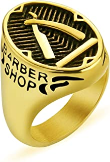 Valily Barber Shop Decor Ring for Men Fashion Punk Silver Black Finger Ring Band Stainless Steel Barber Razor Jewelry Rings (Gold, 7)