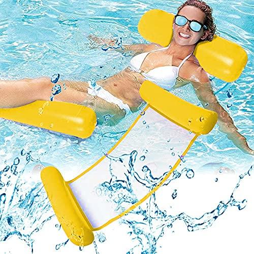 Esteopt Aufblasbares Schwimmbett, Aufblasbare Wasserhängematte, Wasser Hängematte 4-in-1 Ultrabequeme Luftmatratze Schwimmende Wasser Bett Matte (Gelb)