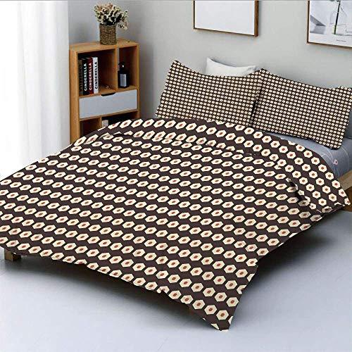 Juego de funda nórdica, diseño de peine hexagonal Diseño de motivos de azulejos con forma de nido Obra decorativa Juego de cama de 3 piezas con 2 fundas de almohada, crema coralina y marrón oscuro, el
