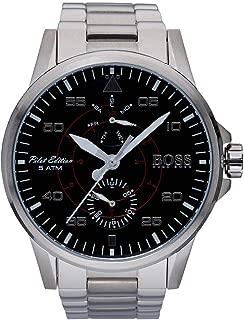 Hugo Boss 1513518 Men's Pilot Aviator Black Dial Steel Bracelet Watch