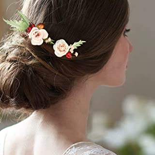 Fangsen Wedding Flower Berries and Greenery Hair Comb Headpiece Woodland Wedding Hair Accessories for Brides and Bridesmaids (Set of 2) (Pink 02)