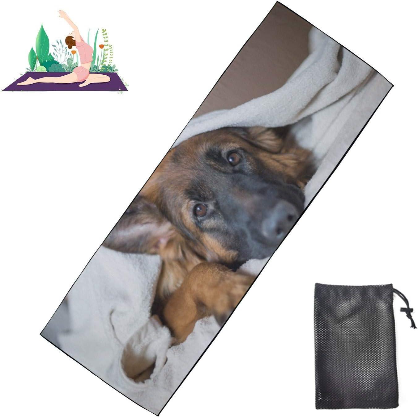 Huqalh Max 90% OFF Yoga Floor Mat Cute German Shepherd P On Bed A Blanket in New color