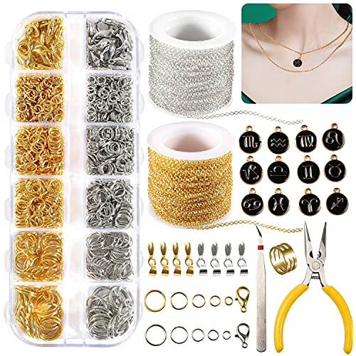 1077Pcs Jewelry Making Chains Kits 65 Feet DIY Necklace Chains for Jewelry...