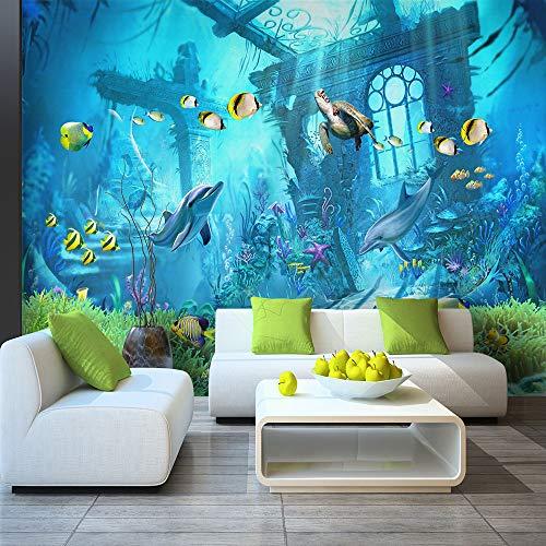 XZCWWH Custom 3D Wallpaper Underwater World Kingdom Cartoon Children'S Room Wall Decoration,250Cm(W)×175Cm(H)