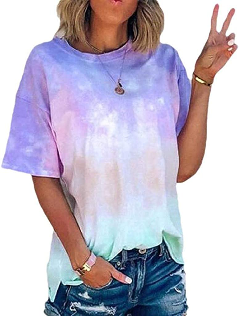 MASZONE Women's Shirts and Blouse, Short Sleeve T-Shirt Loose Fit Gradient Print Tops for Women V-Neck Workout Tunic