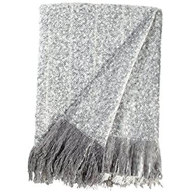 Rivet Oversized Ombre Stripe Brushed Weave Throw Blanket, 60  x 80 , Grey, White