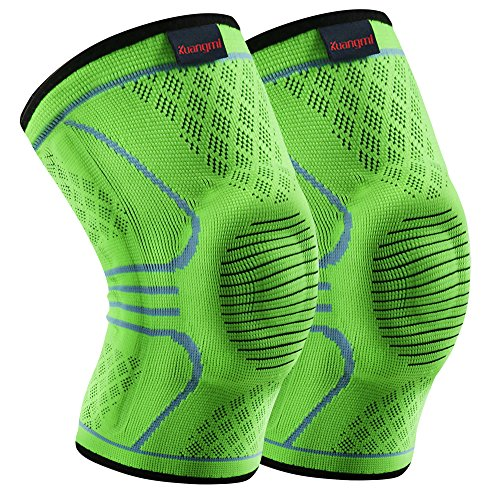 Kuangmi Knee Brace Compression Sleeve Support for Running,Jogging,Basketball,Joint Pain Relief,Arthritis and Injury Recovery (Upgrade Green, X-Large (Pack of 2))