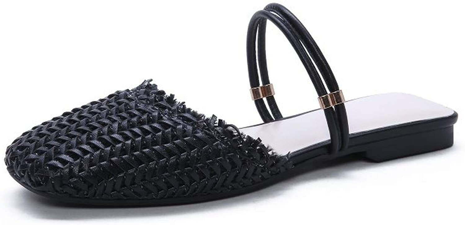 Women Mules shoes Straw Weaving Flat Slides Outside Sea Beach Summer Slippers Ladies Leather shoes