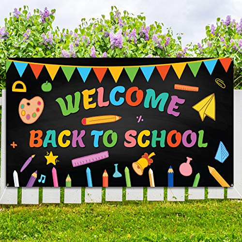 """KMUYSL Welcome Back to School Banner - Extra Large Fabric 79"""" X 40"""" - First Day of School Backdrop Banner - Welcome Back to School Party Decorations Supplies - Classroom School Photo Backdrop Decor"""