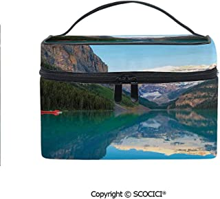 Printed Makeup Bag Organizer toiletry bag Lake Louise with a Red Canoe Banff National Park Canada Wilderness Nature Picture for Girls Ladies