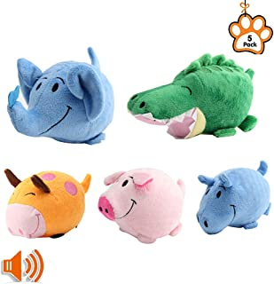 PetBemo Squeaky Dog Toys Puppy Toy Funny Animal Sets Pet Chew Toys Interactive Play for for Puppies and Medium to Large Pets(Pack of 5)