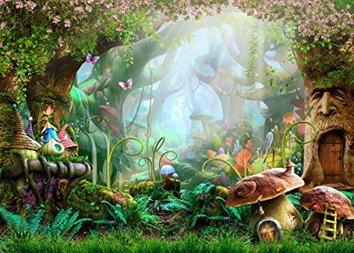 WaW 7x5ft Foto Stoffhintergrund Märchen Fantasy Frühling Wald Fotografie Kulisse Hintergründe Baby Kinder Geburtstag Party Dekoration Fotoshoot Backdrop